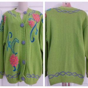Bright Color Long Sleeve Sweater Cardigan Sz. M